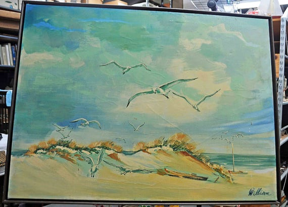 "Vintage 1973 Large Original Realistic BEACH PAINTING Scene by 'WILLIAM' on Stretched Canvas w/ 14 Seagulls 2 Boats Sea Grass 30""x40"" Image"
