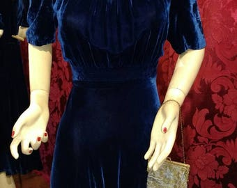 Gorgeous! 1940s Lapis Lazuli Silk Velvet Dress with Gold Geometric Collar Accents