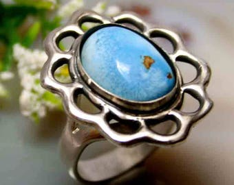 Turquoise Ring Blue Stone Ring Sterling Silver Jewelry