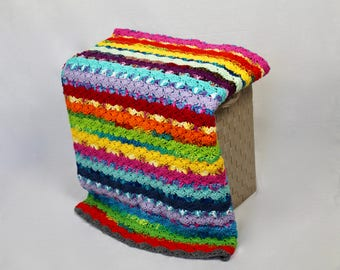 Afghan - Crochet Blanket - Brightly Colored Throw - Striped Afghan - Shell Scrap Afghan - Toddler Blanket
