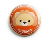 Merit Badge - Lion, Pinback button, Courage, Children badges, Illustration. Honour badges