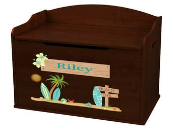 Personalized Surf's Up Espresso Toy Box Bench