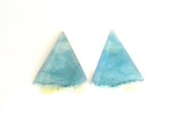 Aquamarine & Goshenite Designer Gemstone Pair 30.2x38.7x3.2 mm 44.1 carats Free shipping