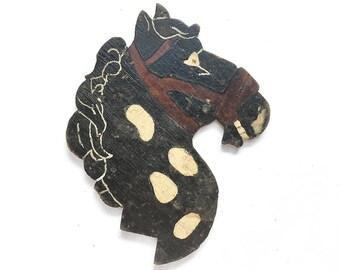 folk art horse plaque, vintage pony silhouette, double sided black stallion, primitive folk art animal