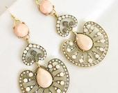 Blush Pink Chandelier Earrings, Nude Chandelier Earrings, Large Statement Earrings