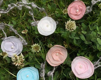Handcraft Chiffon Flower With Pearl 6pcs/lot Mix Color Mohair Belt Baby Gril Photography Props Baby Shower Newborn Photo Props