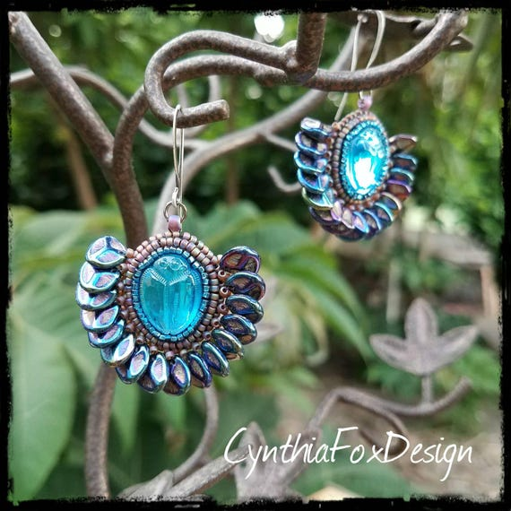 Aqua Blue Scarab Earrings with Egyptian Style Teal Petal Fringe