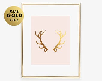 Gold Foil Print ANTLERS Reindeer Art Poster  Glam Rustic Desk  Woodland Animal  Poster Deer Nature Office Decor Moose Pink Decor B13
