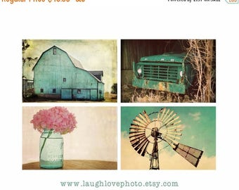 Christmas in July Aqua Country Farmhouse Prints, Barn Windmill Hydrangea Truck Series, Teal Turquoise Rustic Fixer Upper Style Photos, Home