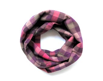 Pink Plaid Scarf, Toddler Scarf, Baby Girl Scarf, Flannel Scarf, Girl Scarf, Children Scarf, Baby Bib Scarf, Under 20 Dollars, Ready to Ship