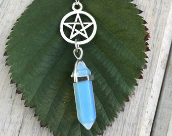 Silver Pentacle and Icy Blue Pointed Stone Necklace