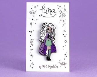 Luna Lovegood Hard Enamel Lapel Pin // Lavender Mint Colourway // Wearable Art, Jewelery, Harry Potter, Witch, Fairytale, Stars, Girl
