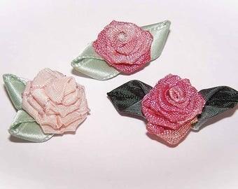 Three,3,Handmade,French Ribbonwork,Ribbon Flowers,Rayon,Floral Embellishment,Floral Applique,Peach,Cream,Mauve,Green,Individiual Flowers