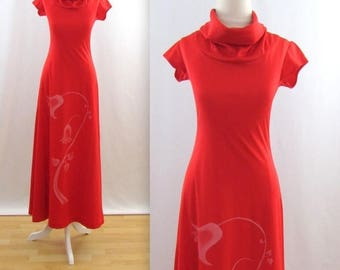 SALE Vintage 1970s Jersey Maxi Dress in Red w/ cap Sleeves - Small