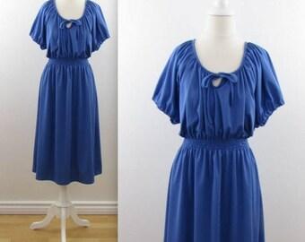 SALE Lapis Blouson Dress - Vintage 1970s Blue A Line Midi Dress in Medium Large