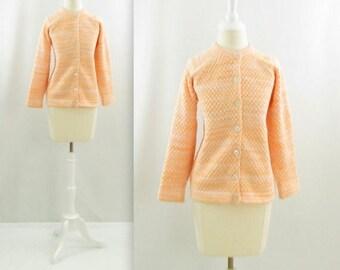 SALE Creamsicle Knit Cardigan - Vintage 1960s Pastel Peach Chunky Sweater in Medium Large by Glenayr Kitten
