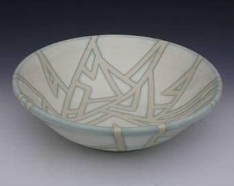 Light Blue and White Serving Bowl