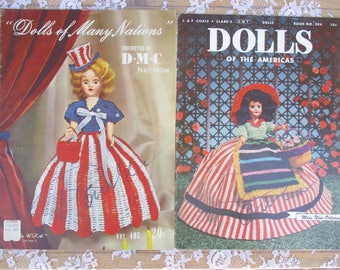 Vintage Crochet Books Dolls of American and Dolls of Many Nations Crocheted Pearl Cotton Instruction Books Dated 1952 Clothes Outfits
