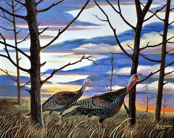 Turkey Print, Wild Turkeys, Birds, Game Birds, Hunting, Wall Decor, Wall Art, Office Decor, Gifts, Home Decor, Bird Print