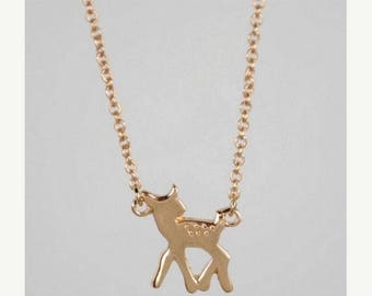 60% OFF Sale DOE >>Gold Fawn Charm >> Adorable animal necklace >> seriously this doe is so cute you can't look directly at it >> donates to