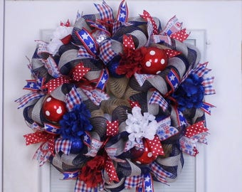 Patriotic Wreath, Mesh Wreath, Summer Wreath, 4th of July Wreath, Memorial Day Decor, Veteran's Day, Election Year