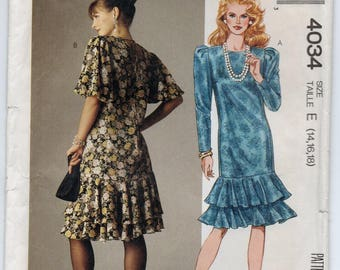 Prom Dress With Self Fabric Bias Back Neck Tie Pleated Cap Sleeve Variations Plus Size 14 16 18 Sewing Pattern 1988 McCall's 4034