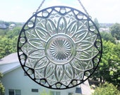 Vintage Plate|Vintage Plate Suncatcher|Federal Petal Plate|Clear Glass Gems|Round Medium Suncatcher|Stained Glass|Handcrafted|Made in USA