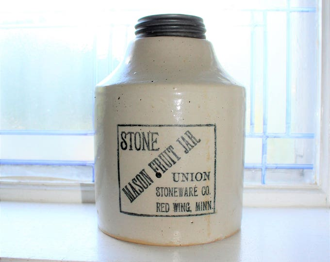 Antique Red Wing Union Stoneware Mason Fruit Jar 1800s Half Gallon