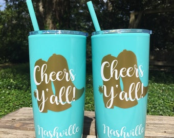 Nashville Bachelorette Party Cups /  Yeti like Personalized Cup with lid and Straw / Party Favors / Nash Bash / Nashville Bachelorette