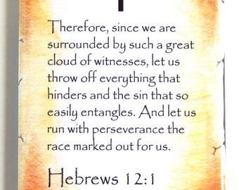 Hebrews 12:1 Bible Verse Fridge Magnet (2 x 3 inches)
