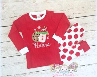 Girls Christmas Pajamas - Cookies and Milk - Holiday Pajamas - Personalized Christmas PJ's - Custom embroidered Christmas Pajamas
