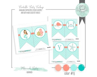 Mermaid Birthday Party DIY printable Banner. HAPPY BIRTHDAY with images for mermaid, seahorse turtle starfish. Multiple color options