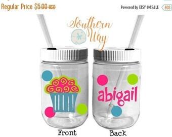 Plastic Mason Jar Cups - Party Favor - Plastic Cups - Birthday Party Favor - Kids party favor - Cupcake - cupcake party