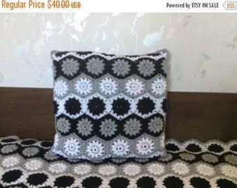 ON SALE - 10% OFF Crochet granny square pillow