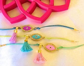 Evil eye amulet tassel bracelet , bohemian talisman bracelets , gypsy good luck bracelets , Turkish NAZAR bracelets, tassel bracelets