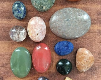 Mixed gemstone and glass cabochon lot, crystals, beading supply, wire wrap, wrapping gems SET TWO