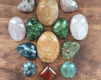 Mixed gemstone and glass cabochon lot, crystals, beading supply, wire wrap, wrapping gems SET THREE