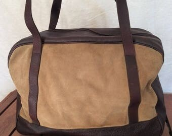 15% OFF3DAYSALE Great Vintage Authentic J JiLl Brown Leather and Tan Suede Leather Satchel Carry On Travel Bag