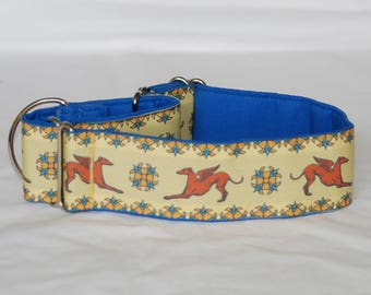 "2"" Martingale Dog Collar Greyhound Angels - Rust, Gold & Blue"