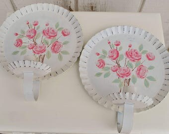 Adorable Vintage Shabby Chic Wall Sconce Candle Holders Set of TWO w/rose roses floral White Lightly distressed Cottage Farm French Decor