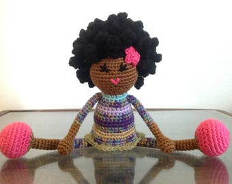 READY TO SHIP Crochet African American, orange green pink, multicolored Plush Afro Natural Black Hair Stuffed Toy Baby Girl Gift