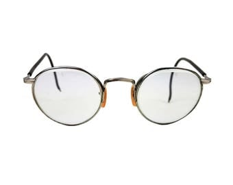 Vintage Bausch & Lomb Ful-Vue 25 Safety Goggle Glasses // 1940's B and L Silvertone Eyeglasses // Round Steampunk Motorcycle Librarian