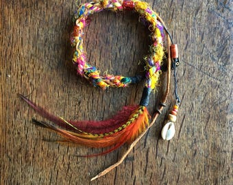 Dreadlock Extensions and quartz crystal,Silk and wool hair wrap//Feather Hair Extensions//Feather Hair Clip//Hippie Hair Wrap//Festival Wear