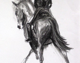 Beautiful Equine horse art horse gift wall art home decor dressage horse print 'Cross Hatch' from an original charcoal sketch
