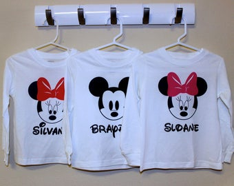 Personalized Mickey and/or Minnie t-shirts for toddlers or kids