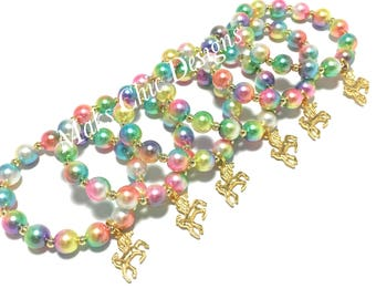 6 Rainbow Unicorn Party Favor Small Beaded Charm Bracelets - Girls Gold Unicorn Bracelets - Unicorn Goodie Bag Gifts - Unicorn Birthday