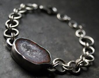 Grey Iris Geode Druzy Bracelet in Sterling Silver