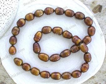 Sale Beads, Destash Beads, Large 11 to 14mm Fresh Water Pearls, Gold Metallic Brown Fresh Water Pearls, Large Rice Pearls FWP-913