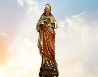vintage chalkware Sacred Heart of Jesus statue, religious statues, Catholic statues, Jesus figurine, religious chalkware,  Jesus statuary