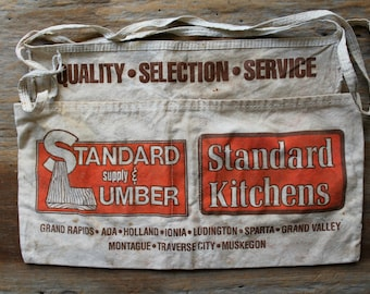 vintage canvas apron from lumber store, commercial apron, distressed apron, worn canvas apron, vintage industrial, store keepers apron